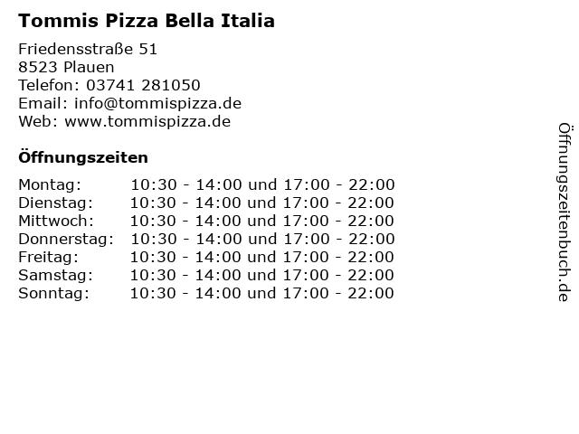 Tommis Pizza Bella Italia in Plauen: Adresse und Öffnungszeiten