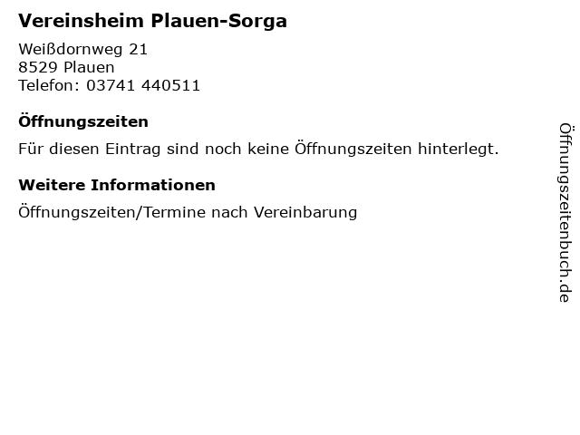 Vereinsheim Plauen-Sorga in Plauen: Adresse und Öffnungszeiten
