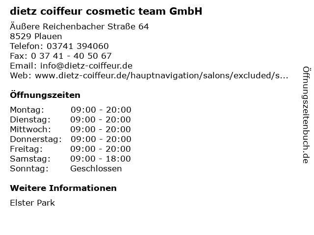 dietz coiffeur cosmetic team GmbH in Plauen: Adresse und Öffnungszeiten