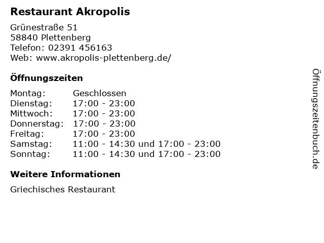 Restaurant Akropolis in Plettenberg: Adresse und Öffnungszeiten