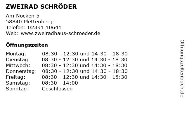 ZWEIRAD SCHRÖDER in Plettenberg: Adresse und Öffnungszeiten