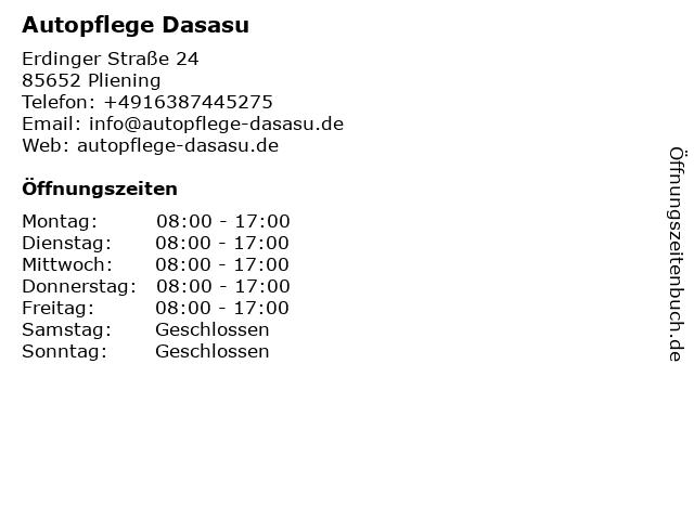 Autopflege Dasasu in Pliening: Adresse und Öffnungszeiten