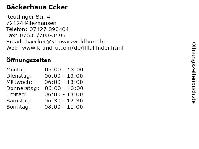 Bäckerhaus Ecker in Pliezhausen: Adresse und Öffnungszeiten