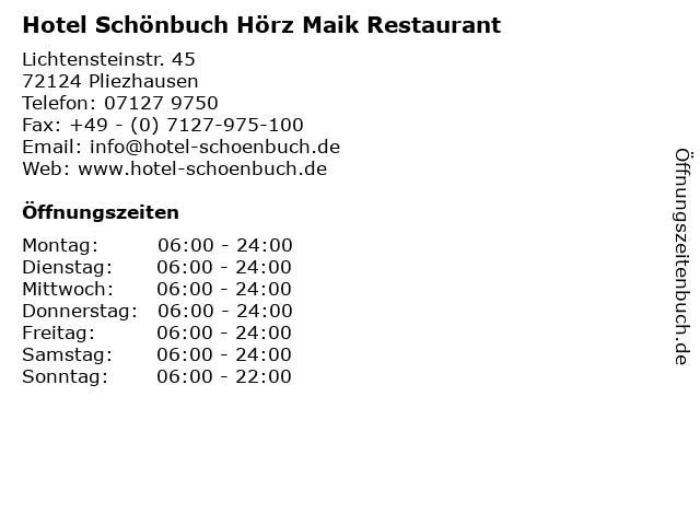 Hotel Schönbuch Hörz Maik Restaurant in Pliezhausen: Adresse und Öffnungszeiten