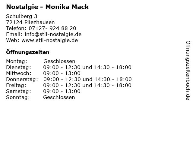 Nostalgie - Monika Mack in Pliezhausen: Adresse und Öffnungszeiten