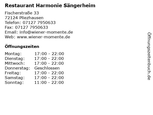 Restaurant Harmonie Sängerheim in Pliezhausen: Adresse und Öffnungszeiten