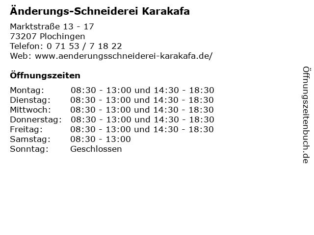 Änderungs-Schneiderei Karakafa in Plochingen: Adresse und Öffnungszeiten