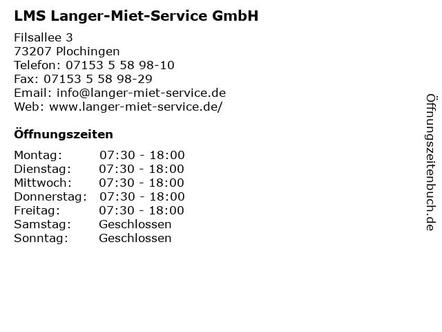 LMS Langer-Miet-Service GmbH in Plochingen: Adresse und Öffnungszeiten