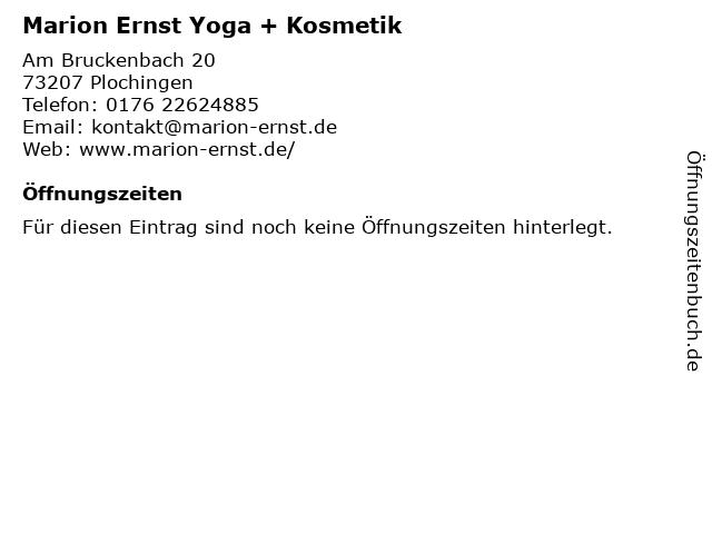 Marion Ernst Yoga + Kosmetik in Plochingen: Adresse und Öffnungszeiten