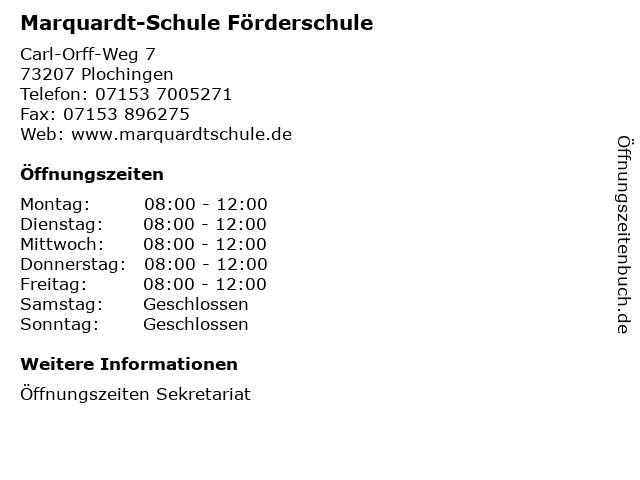 Marquardt-Schule Förderschule in Plochingen: Adresse und Öffnungszeiten