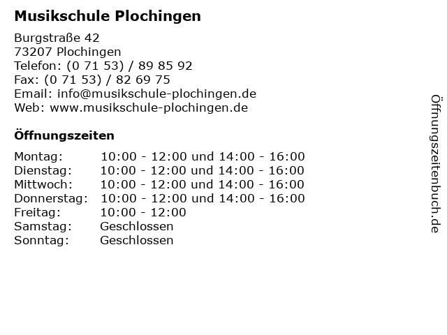 Musikschule Plochingen in Plochingen: Adresse und Öffnungszeiten