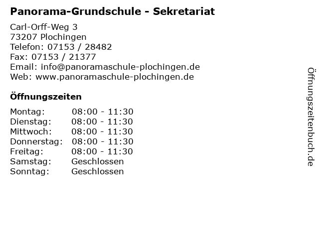 Panorama-Grundschule - Sekretariat in Plochingen: Adresse und Öffnungszeiten