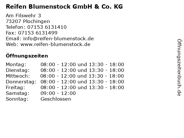 Reifen Blumenstock GmbH & Co. KG in Plochingen: Adresse und Öffnungszeiten