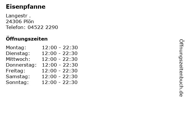 Eisenpfanne in Plön: Adresse und Öffnungszeiten