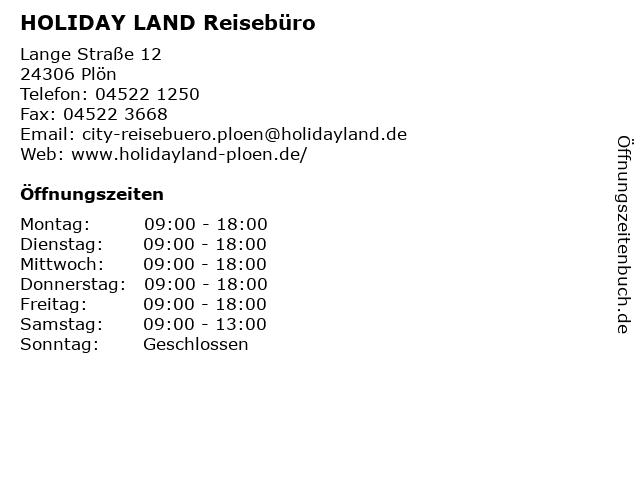 HOLIDAY LAND Reisebüro in Plön: Adresse und Öffnungszeiten
