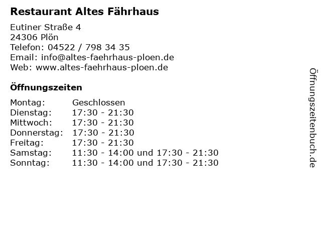 Restaurant Altes Fährhaus in Plön: Adresse und Öffnungszeiten