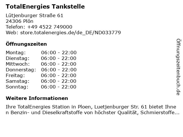 TOTAL Tankstelle in Plön: Adresse und Öffnungszeiten