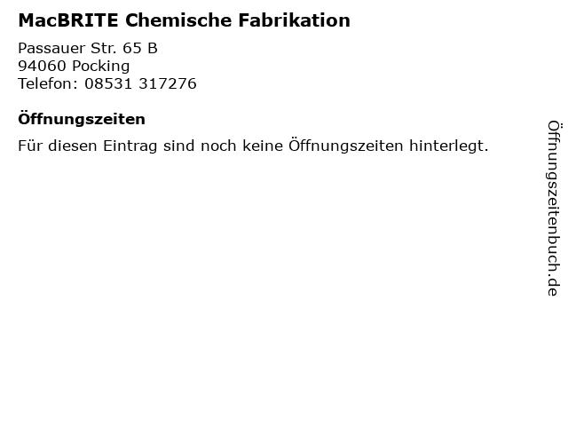MacBRITE Chemische Fabrikation in Pocking: Adresse und Öffnungszeiten