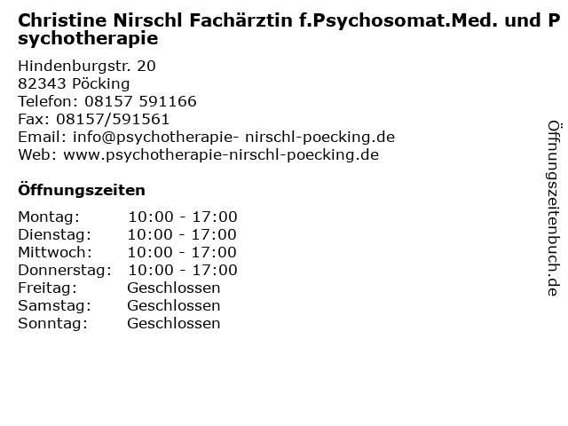 Christine Nirschl Fachärztin f.Psychosomat.Med. und Psychotherapie in Pöcking: Adresse und Öffnungszeiten