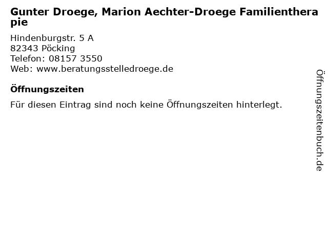 Gunter Droege, Marion Aechter-Droege Familientherapie in Pöcking: Adresse und Öffnungszeiten
