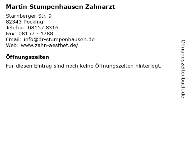 Martin Stumpenhausen Zahnarzt in Pöcking: Adresse und Öffnungszeiten