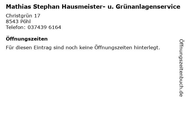Mathias Stephan Hausmeister- u. Grünanlagenservice in Pöhl: Adresse und Öffnungszeiten