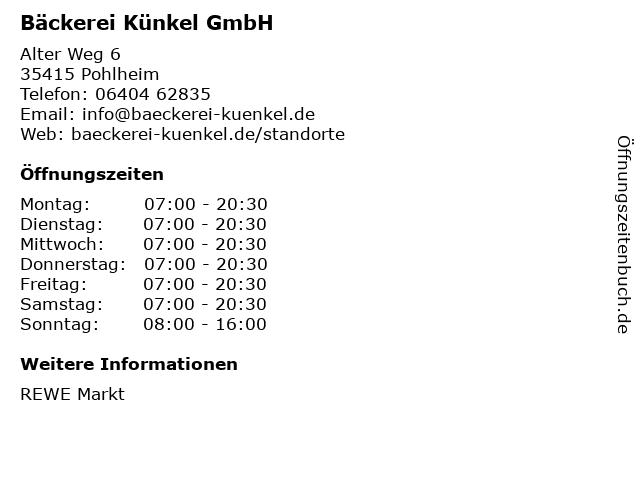 Bäckerei Künkel GmbH in Pohlheim: Adresse und Öffnungszeiten