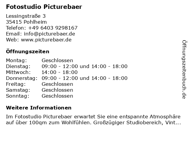 Fotostudio Picturebaer in Pohlheim: Adresse und Öffnungszeiten