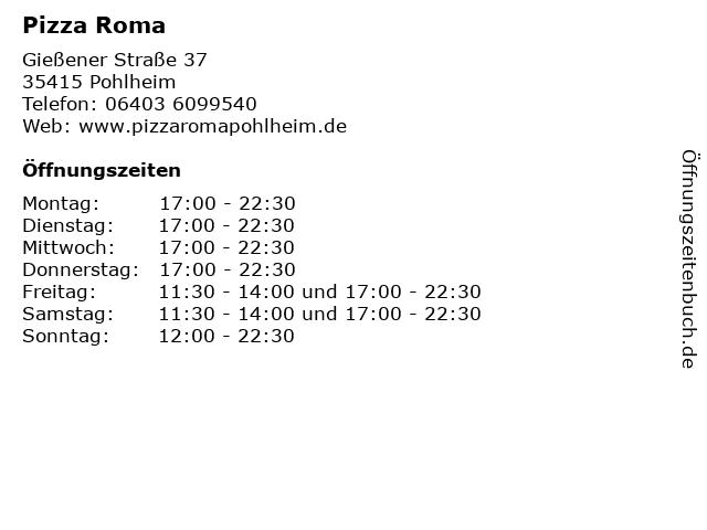 Pizza Roma in Pohlheim: Adresse und Öffnungszeiten
