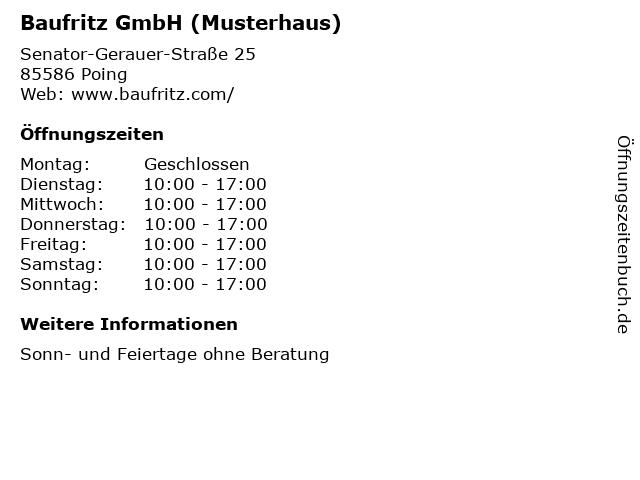 ᐅ öffnungszeiten Baufritz Gmbh Musterhaus Senator Gerauer