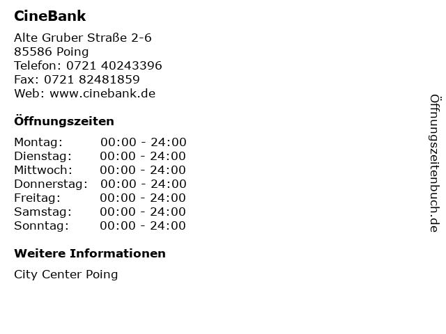 CineBank in Poing: Adresse und Öffnungszeiten