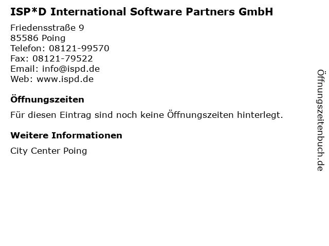 ISP*D International Software Partners GmbH in Poing: Adresse und Öffnungszeiten