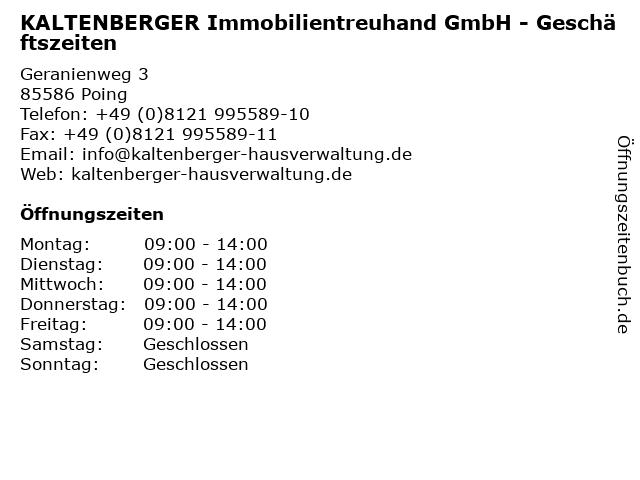 KALTENBERGER Immobilientreuhand GmbH - Geschäftszeiten in Poing: Adresse und Öffnungszeiten