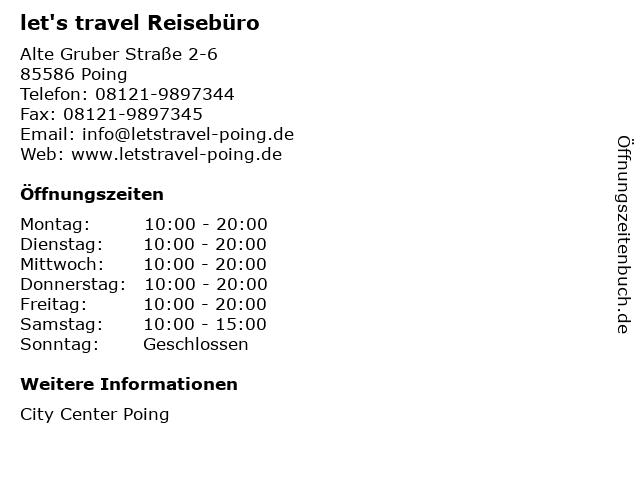 let's travel Reisebüro in Poing: Adresse und Öffnungszeiten