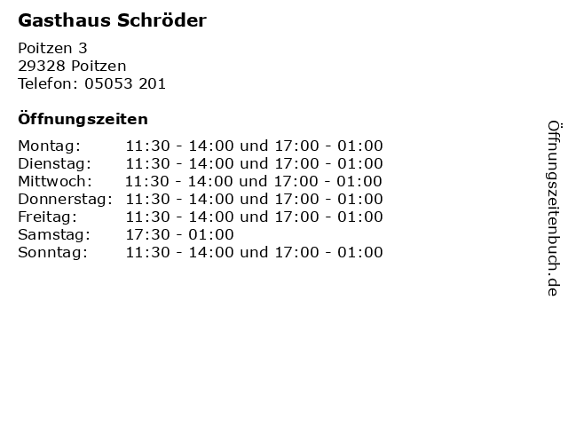 Gasthaus Schröder in Poitzen: Adresse und Öffnungszeiten