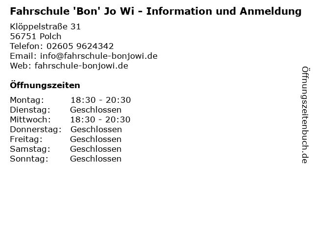 Fahrschule 'Bon' Jo Wi - Information und Anmeldung in Polch: Adresse und Öffnungszeiten