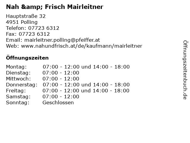 Nah & Frisch Mairleitner in Polling: Adresse und Öffnungszeiten