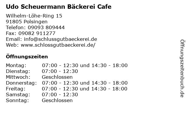 Udo Scheuermann Bäckerei Cafe in Polsingen: Adresse und Öffnungszeiten
