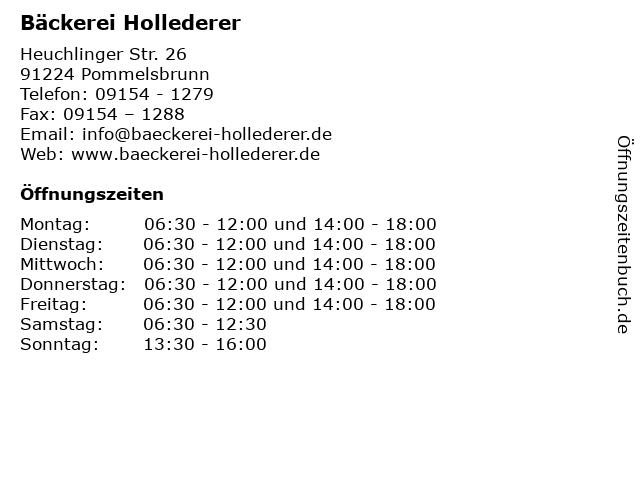 Bäckerei Hollederer in Pommelsbrunn: Adresse und Öffnungszeiten