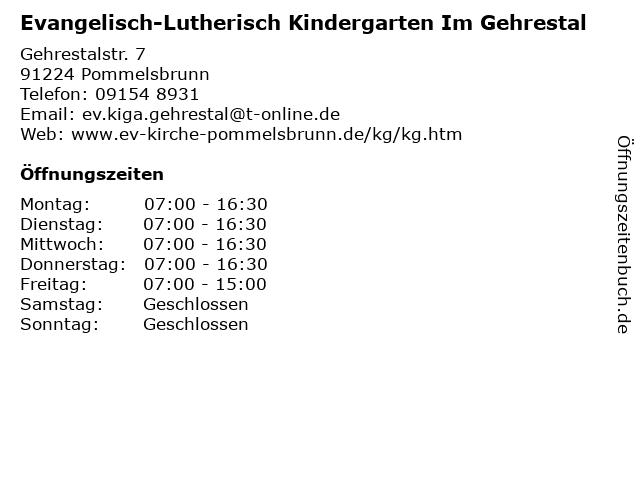 Evangelisch-Lutherisch Kindergarten Im Gehrestal in Pommelsbrunn: Adresse und Öffnungszeiten