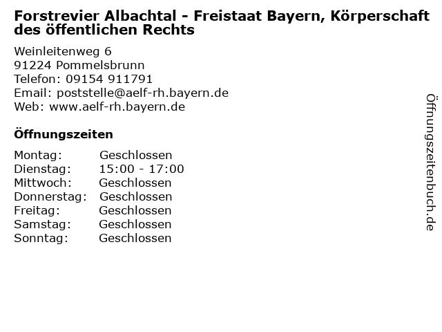 Forstrevier Albachtal - Freistaat Bayern, Körperschaft des öffentlichen Rechts in Pommelsbrunn: Adresse und Öffnungszeiten