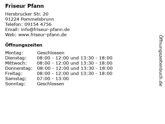 Friseur Pfann in Pommelsbrunn: Adresse und Öffnungszeiten