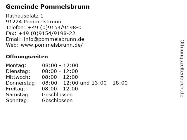 Gemeinde Pommelsbrunn in Pommelsbrunn: Adresse und Öffnungszeiten