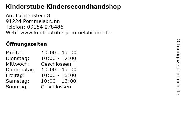 Kinderstube Kindersecondhandshop in Pommelsbrunn: Adresse und Öffnungszeiten