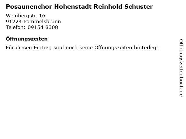 Posaunenchor Hohenstadt Reinhold Schuster in Pommelsbrunn: Adresse und Öffnungszeiten