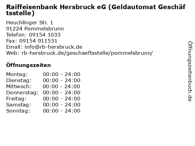 Raiffeisenbank Hersbruck eG (Geldautomat Geschäftsstelle) in Pommelsbrunn: Adresse und Öffnungszeiten