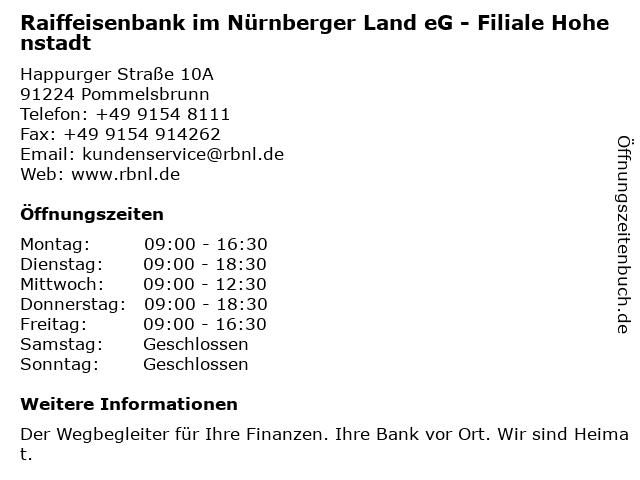 Raiffeisenbank Hersbruck eG - Geschäftsstelle Hohenstadt in Pommelsbrunn: Adresse und Öffnungszeiten