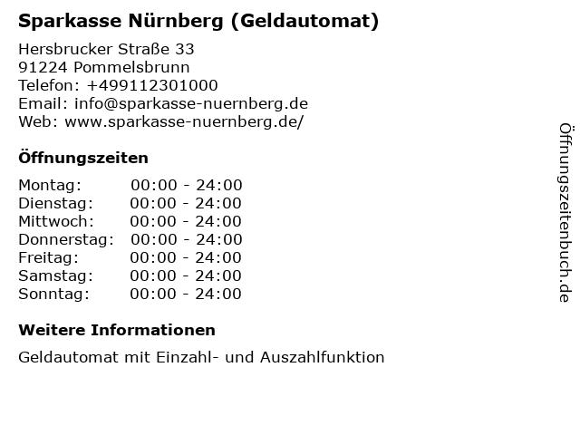 Sparkasse Nürnberg - (Geldautomat Geschäftsstelle) in Pommelsbrunn: Adresse und Öffnungszeiten