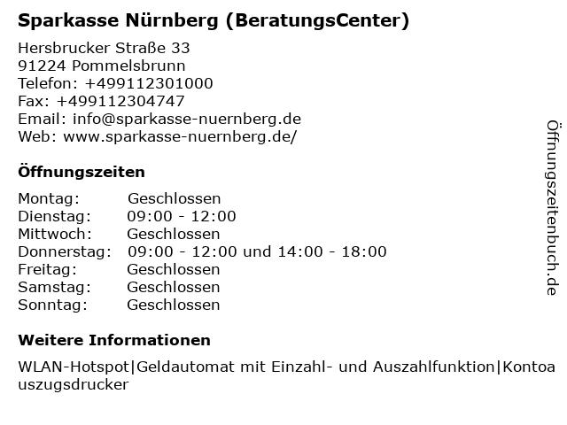 Sparkasse Nürnberg - Geschäftsstelle Hartmannshof in Pommelsbrunn: Adresse und Öffnungszeiten