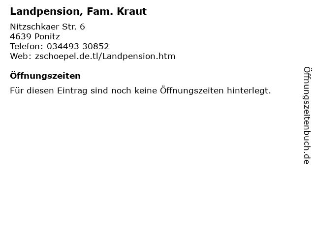 Landpension, Fam. Kraut in Ponitz: Adresse und Öffnungszeiten